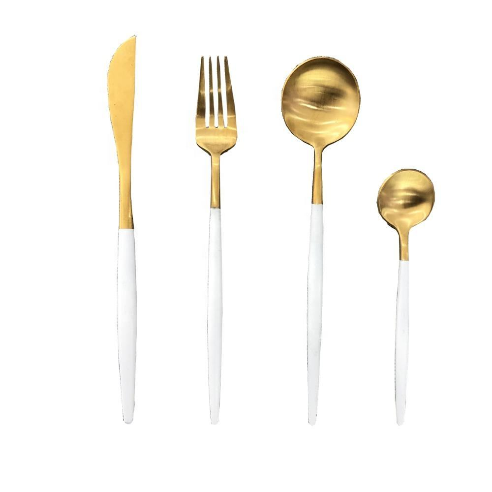 Stainless steel flatware PVD golden and coating white cutlery set