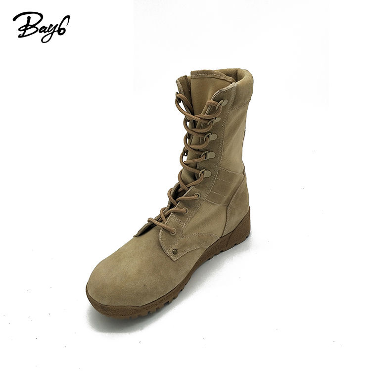 Khaki Canvas And Suede Leather Army Style Strong Boots