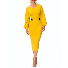 2019 Women Cocktail Bodycon Dress Maxi Pencil Dress Puff Long Sleeve Round Collar Back Slit Casual Dresses