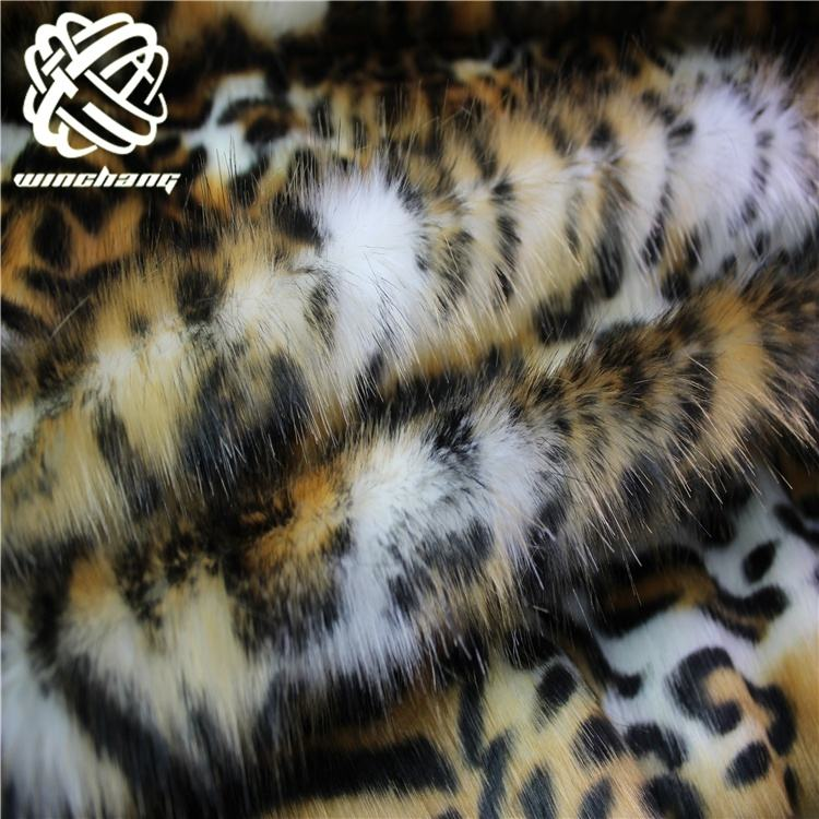 China Manufacturer Wholesale Luxury Acrylic Long Pile Printed Leopard Fake Fur Mink Faux Fur Plush Fabric