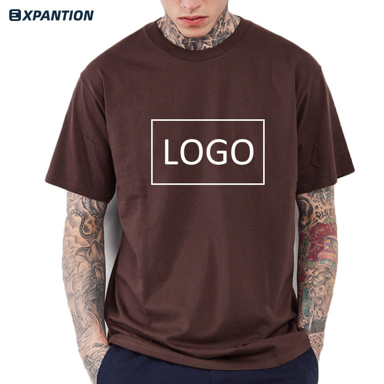 EXP Wholesale Summer New Design Round Neck Short Sleeve T-shirt Custom Printing Cotton Hip Hop Men Brown T Shirt