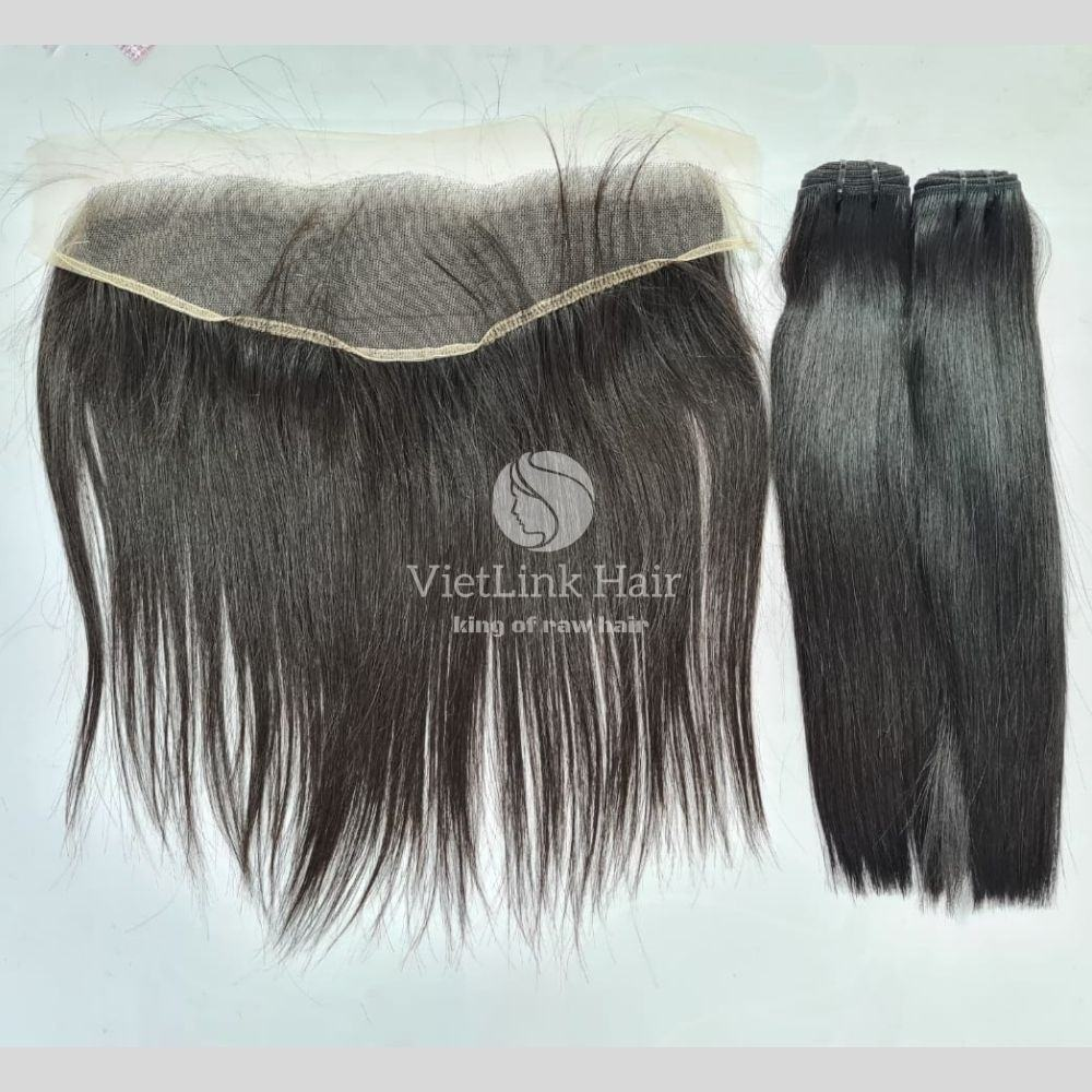 Human Vietnamese Straight Wig Frontal 13*4 And Bundles To Make HD Lace Wig For Black Women