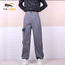 New design cheap grey custom logo fancy casual button fly women custom overalls