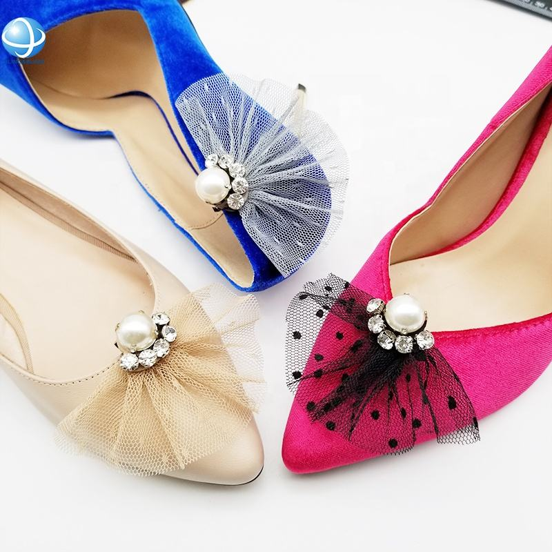 Scalloped fabric saree pearl rhinestone shoe clip for Lady girl shoes accessory