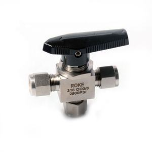 Stainless Steel 3000PSI Double Ferrules Compression One Piece Instrmentation 3 Way Ball Valve