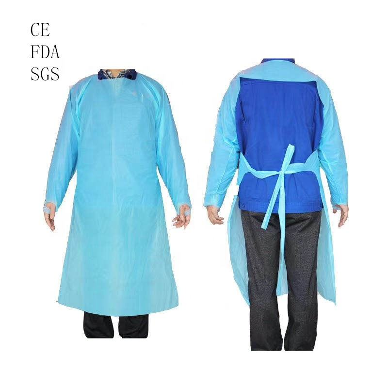 factory sale disposable cpe gown disposable apron with long sleeve and thumb holes CE and FDA certified