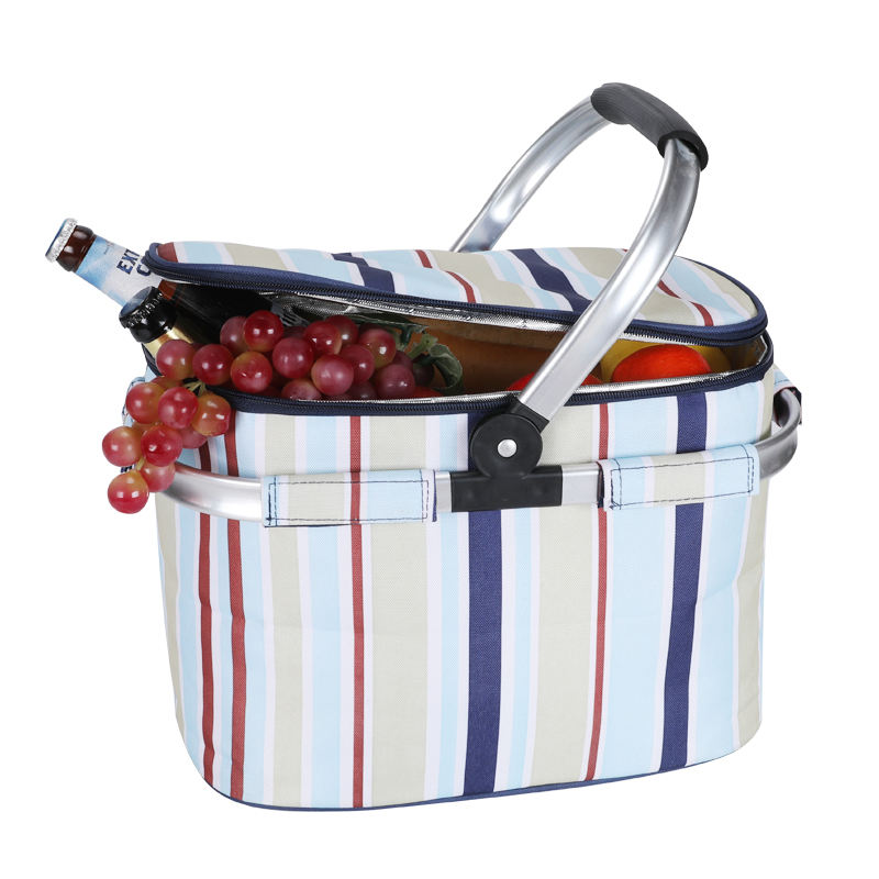 600D oxford customized logo insulated aluminum thermal cooler folding picnic basket with bracket handle