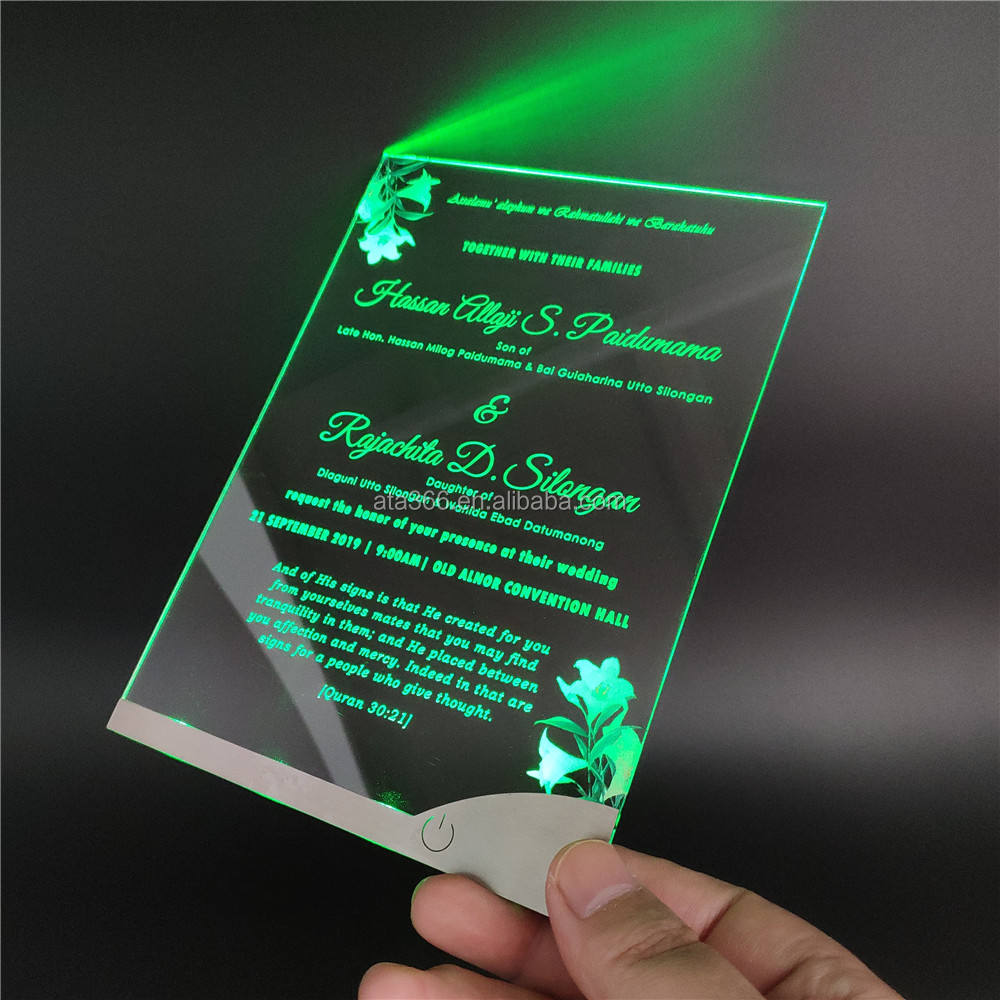 LED Acrylic Invitation Card and Envelope Custom Design Marriage Invitation Card