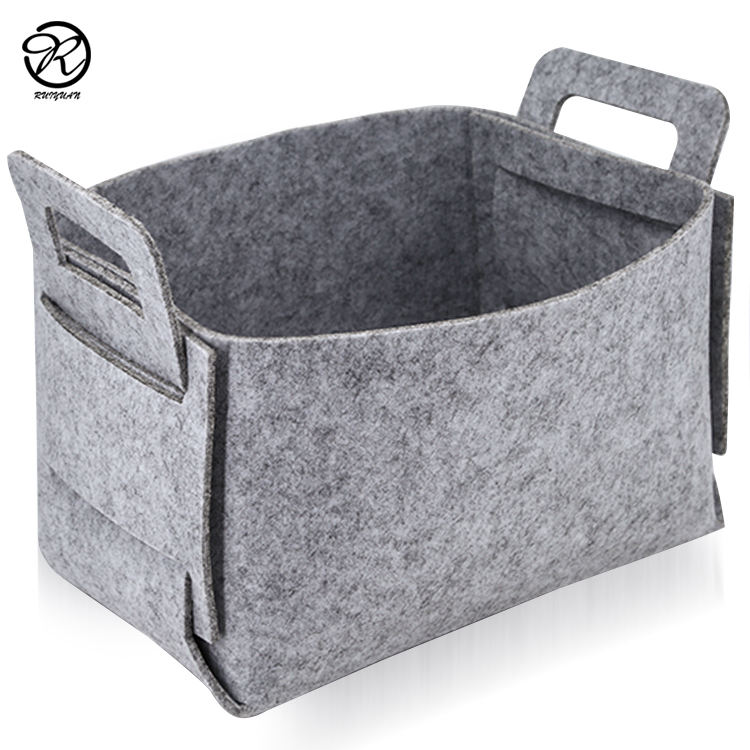 China Custom Logo Felt Storage Bag Portable Felt Storage Box Bin Wool Blended Felt Laundry Basket Bag