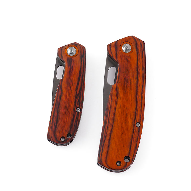 Wood [ Wood Knife ] Wood Knife Pocket Knife 2020 Hot Sale Best Design Professional Pakka Wood Folding Survival Pocket Knife