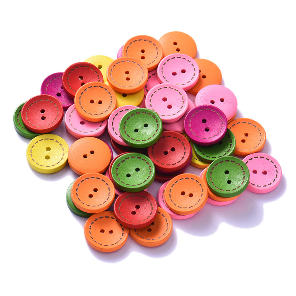 2017 Fashion 100Pcs/Lot Colorful Round Wood Flatback DIY Wooden Buttons Sewing Craft Scrapbooking 15mm/20mm