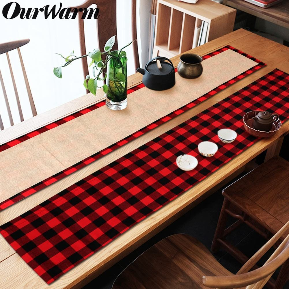 Ourwarm Christmas Table Decoration Double Sided Buffalo Plaid Christmas cotton Table Runner