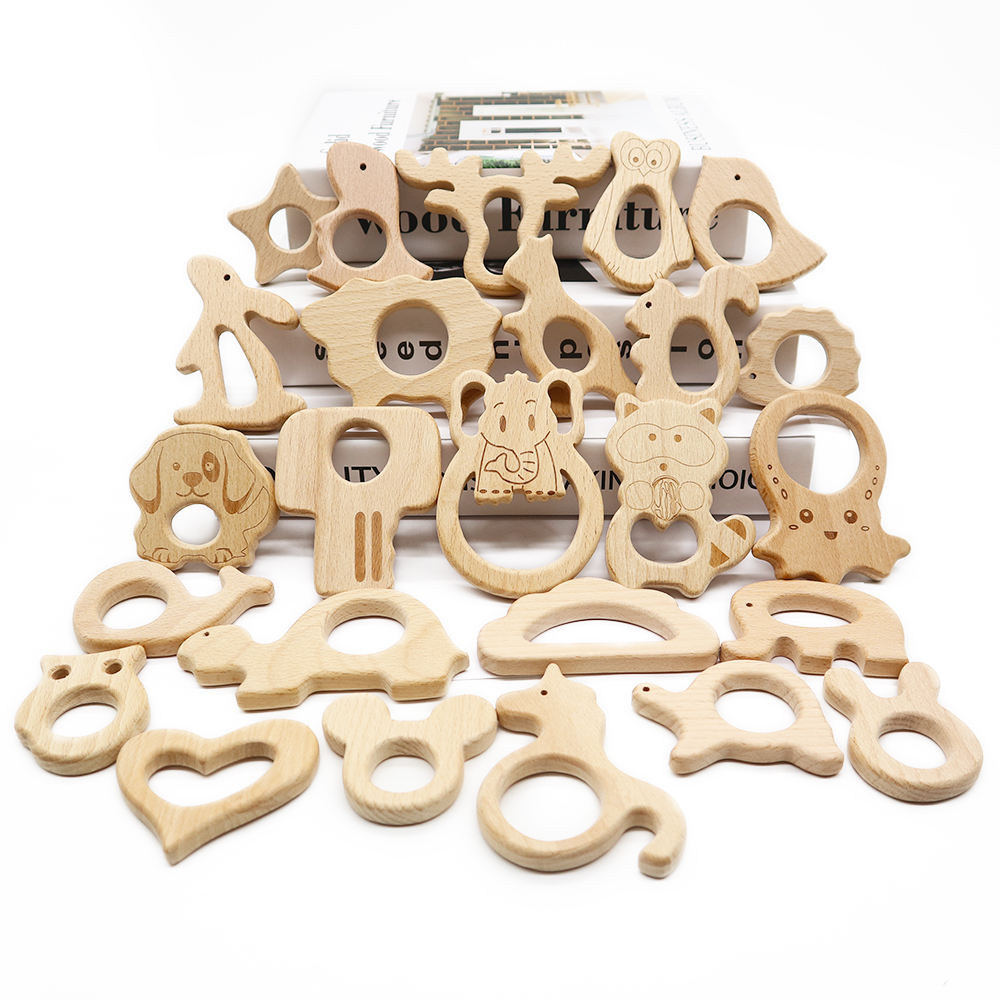 Custom Natural Beech Wooden Teether For Teething Baby Wholesale