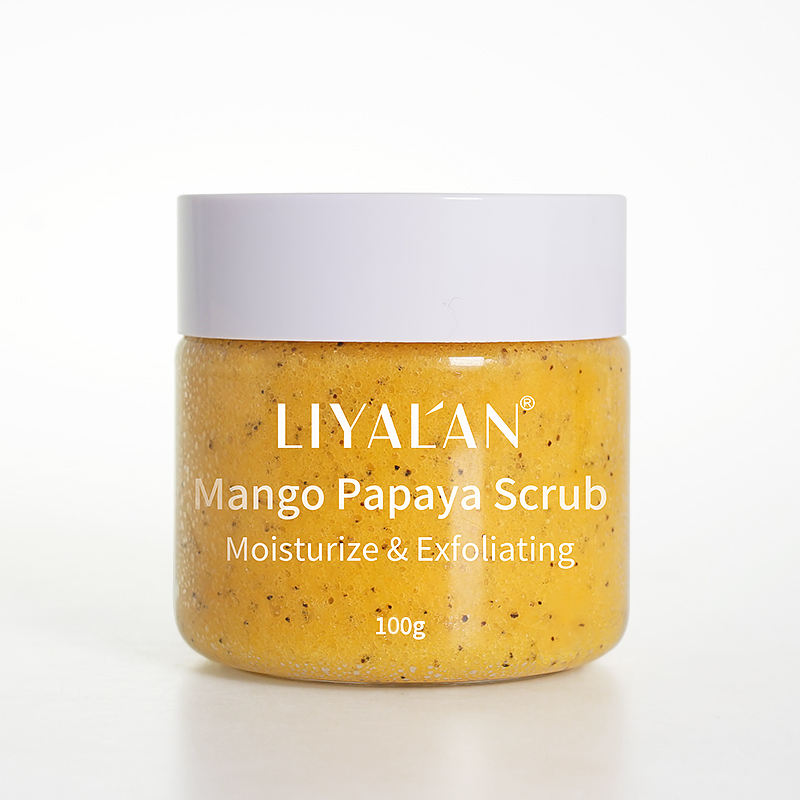 OEM Wholesale Skin Whitening Clean Vegan Natural Organic Fruit Mango Papaya Foaming Face Body Scrub Cream