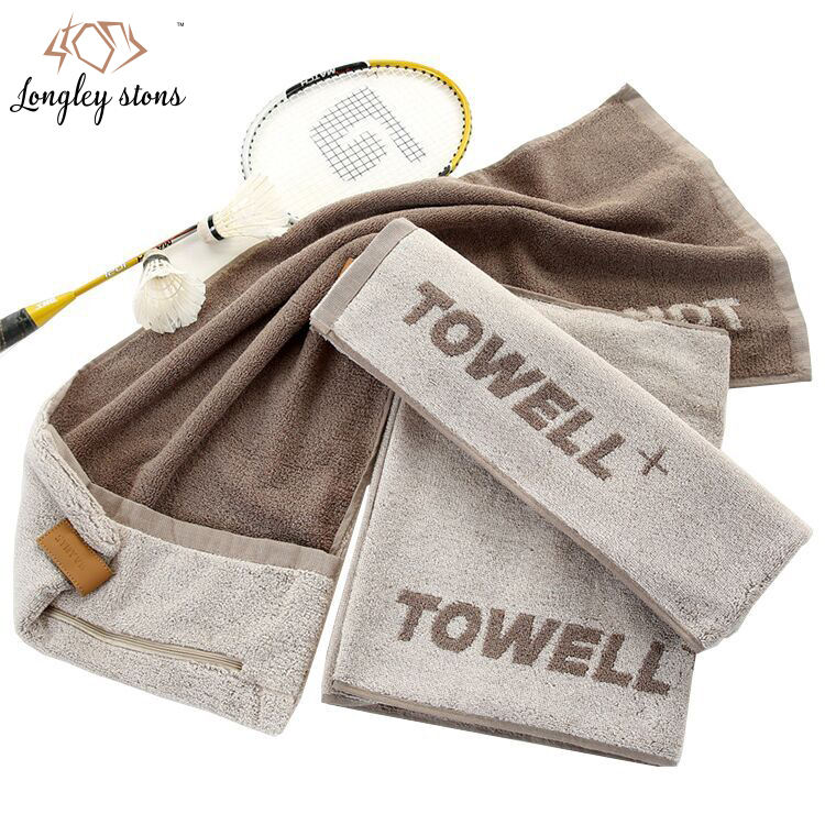 Good price best quality hot sales Custom Cotton Jacquard Sport gym towel with zipper pocket