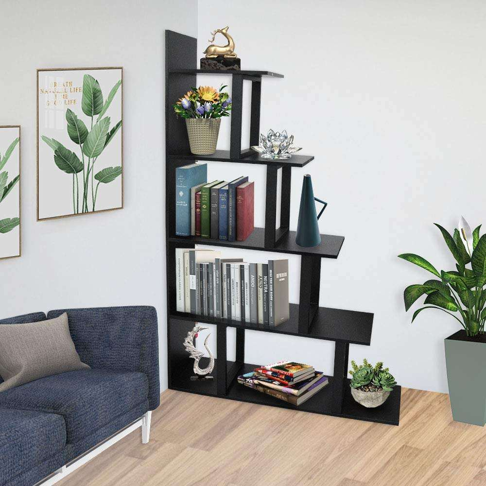 Corner Bookshelf 5 Layer Bookcase Wood Display and Metal Book Shelf