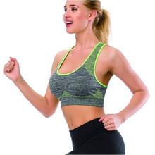 Women seamless removable fitness yoga gym sexy padded sport bra