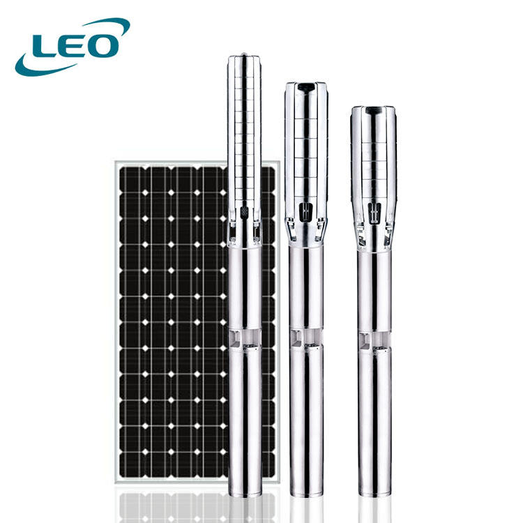 LEO 4LPS Deep Well Pump Hybrid AC DC Solar Water Pump Submersible Borehole Water Pump
