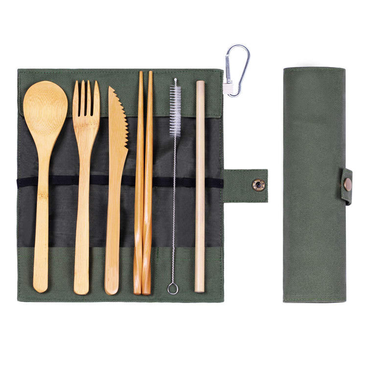 Big wooden bamboo soup spoon beige handle cutlery natural tube bamboo/wooden utensil fork knife set