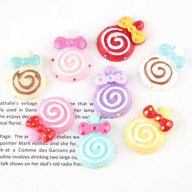 lovely colored bowknot lollipop design flat back resin craft for mobile case