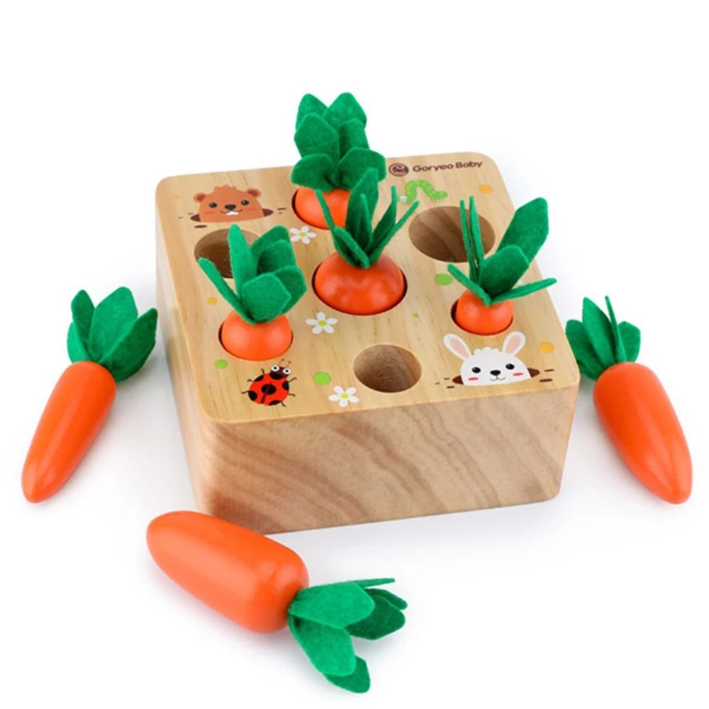 Harvest Carrot Kids Wooden Montessori Toys Block Set Children Size Cognition Shape Matching Carrot Game Early Education Toys