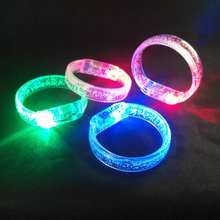 free shipping  Transparent Acrylic LED Bracelet Flashing Color Changing Bracelet Glow Bangles customized logo