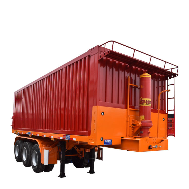 Wosheng tri-axle self unloading 40tons flatbed rear dump semi trailer for sale