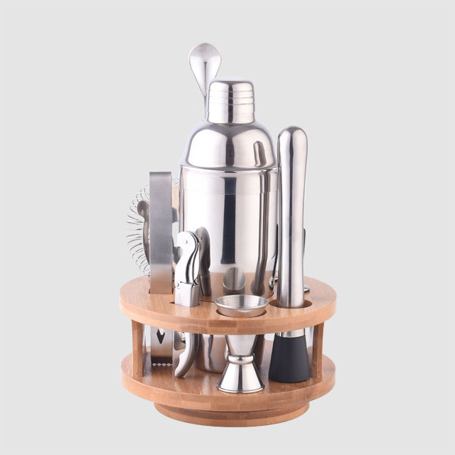 Factory Direct martini cocktail shaker set mixing barware bartender kit and bar tool strainer set with bamboo holder