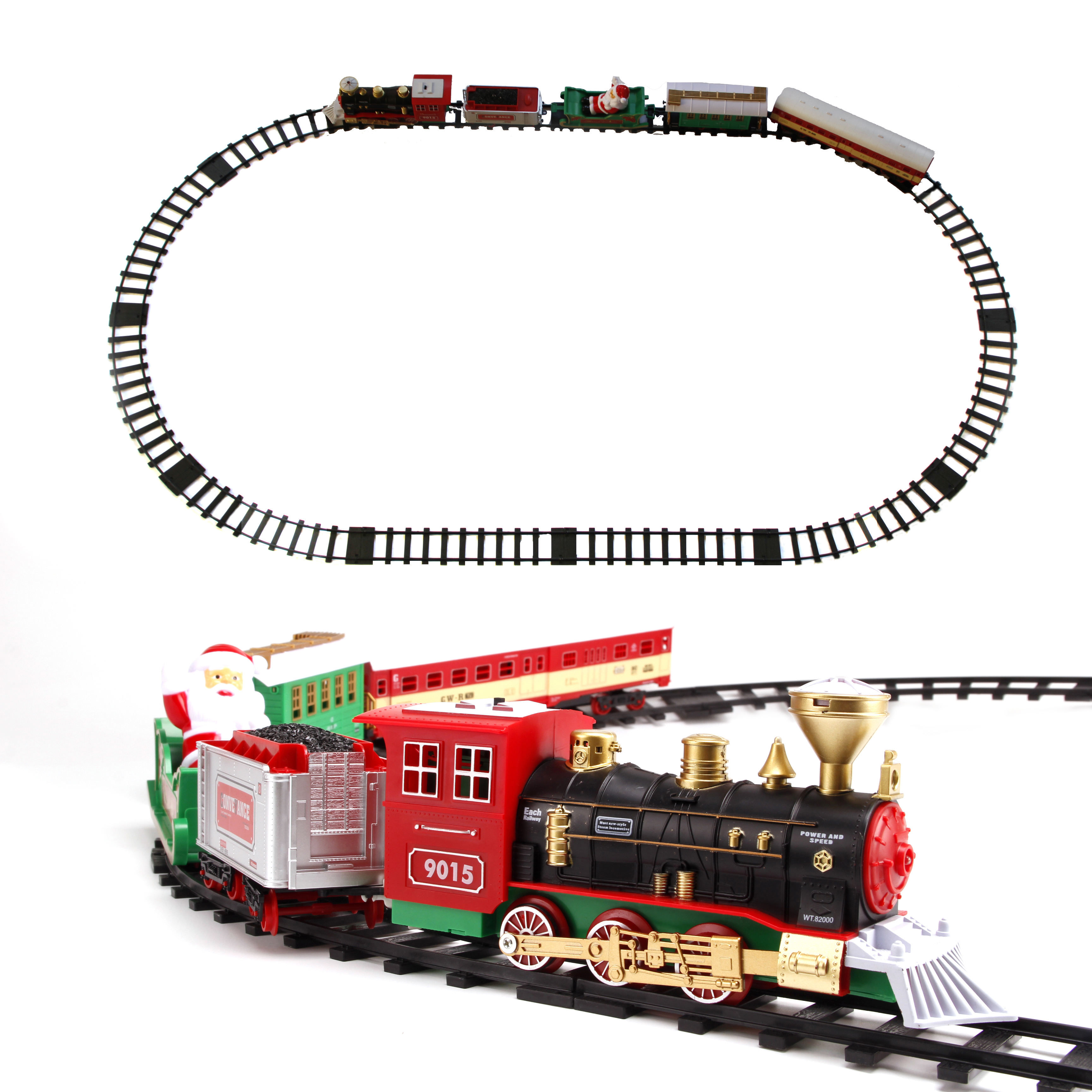 Christmas Decoration Railway Train with Sound/Light/Santa Claus Classic Toys Track 147*87cm Electric Train toys for Children