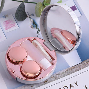 Round Fashion Marble Contact Lens Case  Portable Contact Lens Box Kit with Mirror