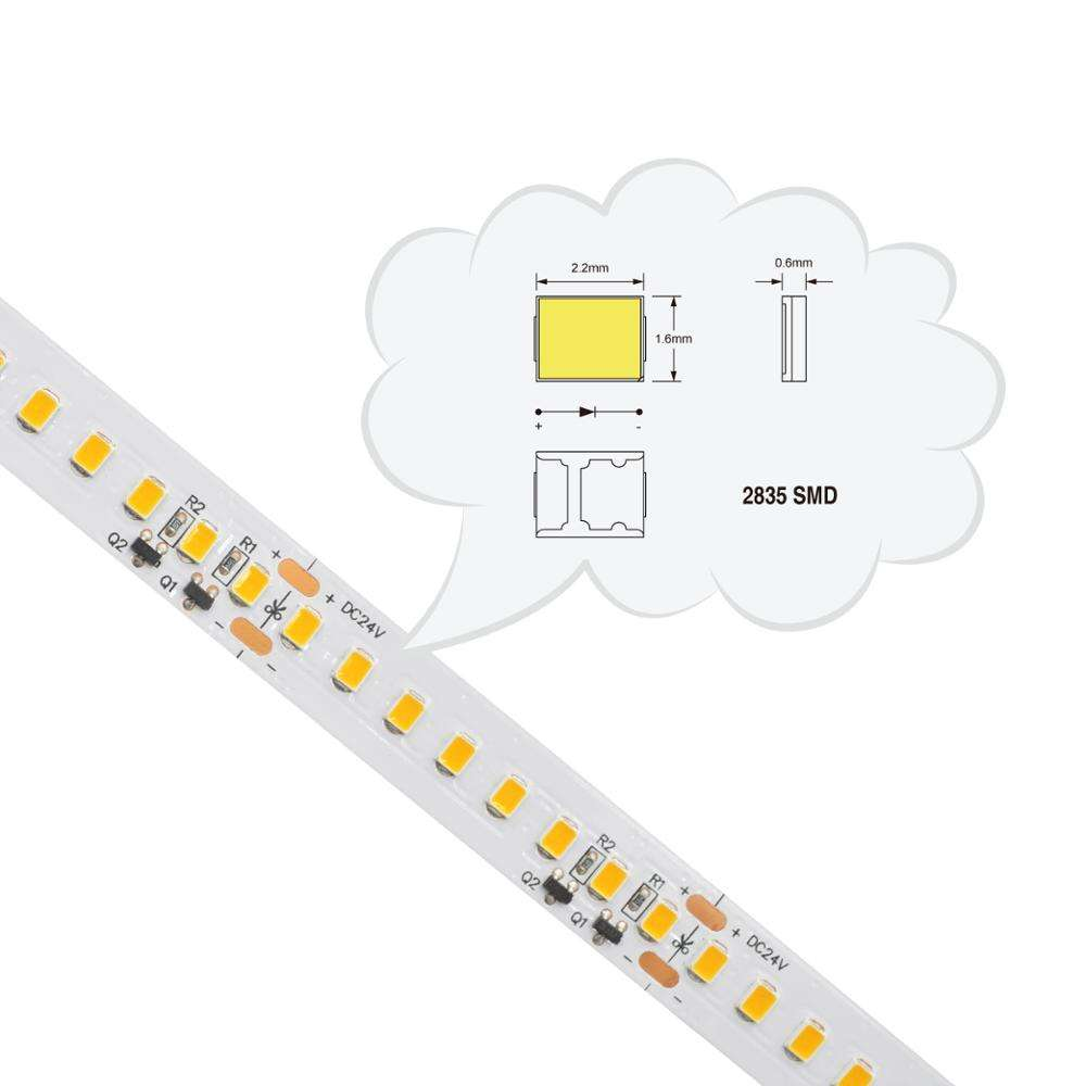Ultra brillante SMD 2835 LED tira de light128 LED de alta eficiencia Luz de tira LED de corriente constante CE ROHS ETL UL 50 ¡000hrs vida útil