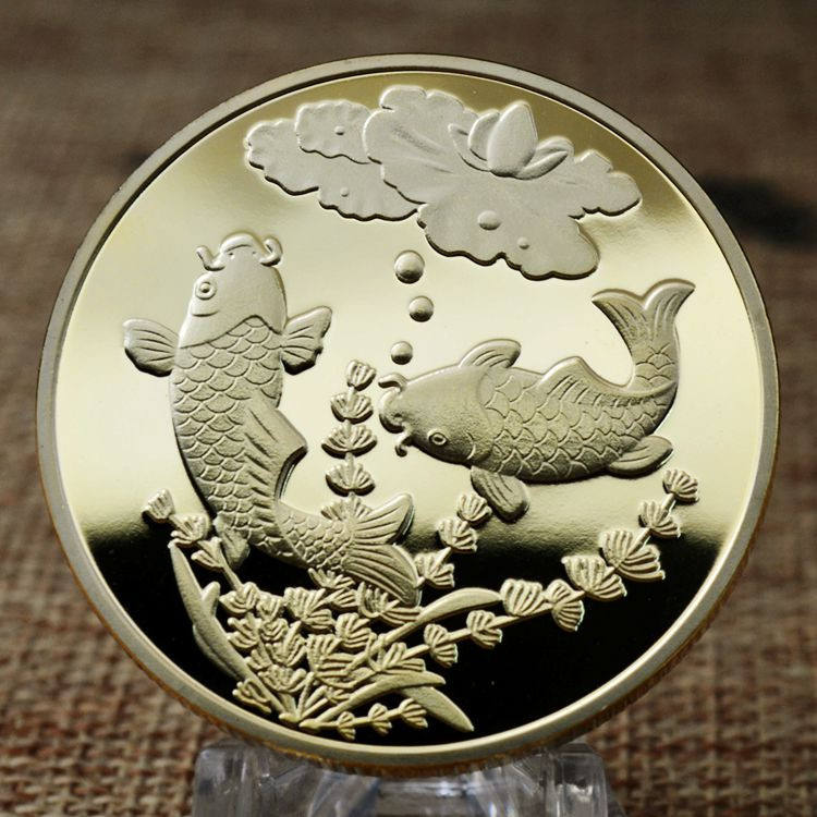 2019 Japanese Chinese Feng Shui Koi Carp Fish Coin, Lucky Fish gold Coins