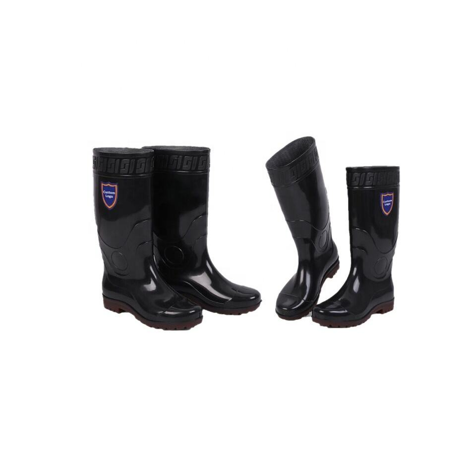 Black Pink Jelly Pu Safety Waterproof Boot Heel Pvc New Arrival Plastic Rain Boots Over Shoes