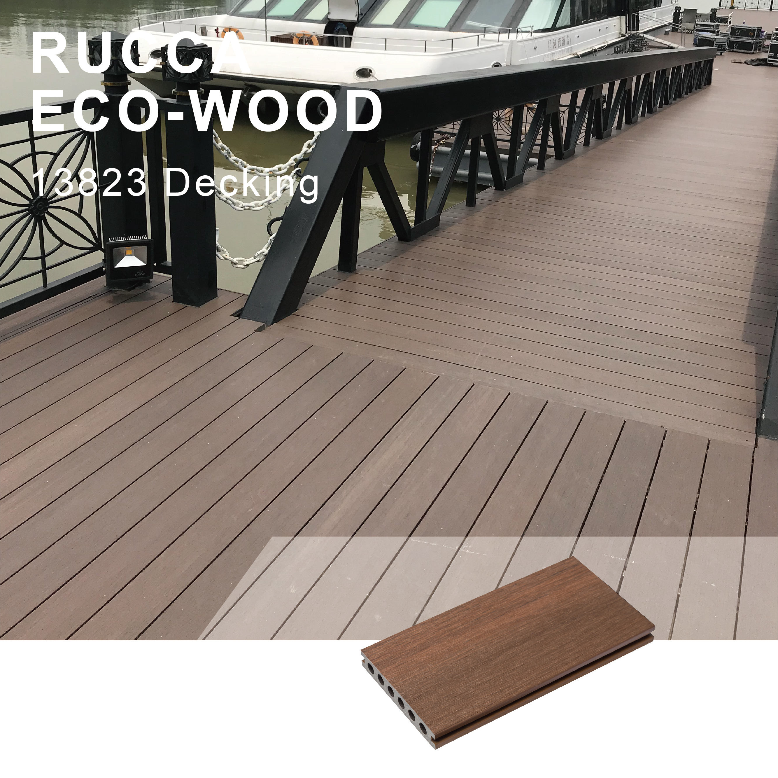 Wpc Hout Plastic Holle Composiet Waterdichte Outdoor Floor Decking, Wpc Decking 138*23 Mm