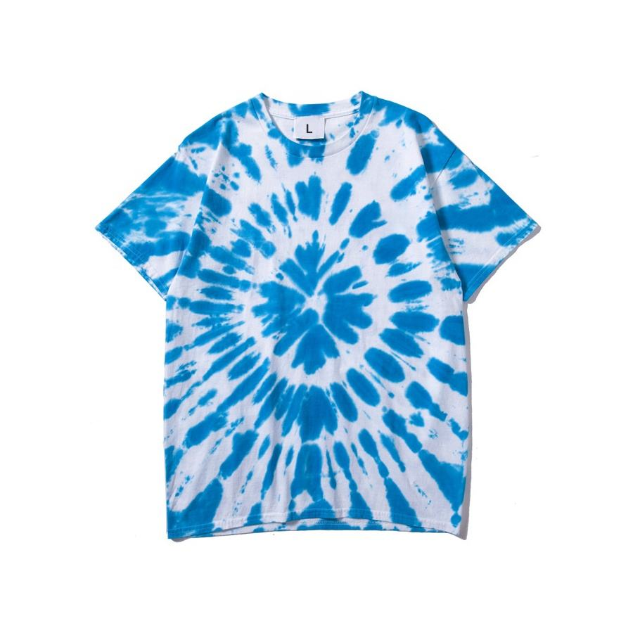 hot sale collarless O-neck flexography heavy cotton screen print t shirt tie dye