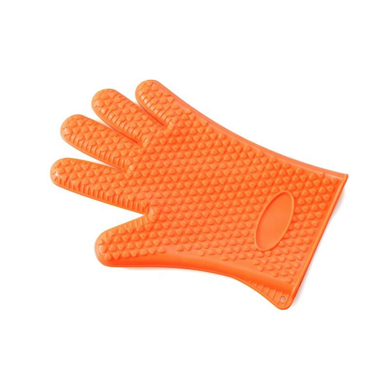 Practical 5 Fingers thicken silicone grill glove heat resistant kitchen bbq gloves 142g oven mitts