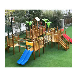 Amusement park children fun obstacles training climbing playground wood toys