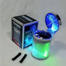 Car Ashtray with LED Light Cigarette Cigar Ash Tray Container Smoke Ash Cylinder Smoke Cup Holder LED Colorful Ashtray