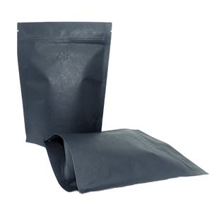 Recyclable stand up black kraft paper bags Aluminum foil bag zipper bag