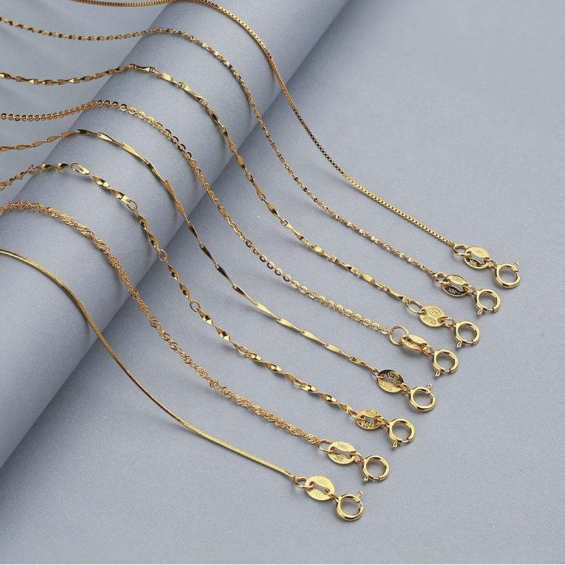 Dubai 18k Gold Plated Snake Chains 925 Silver Box Chains Necklace for Women