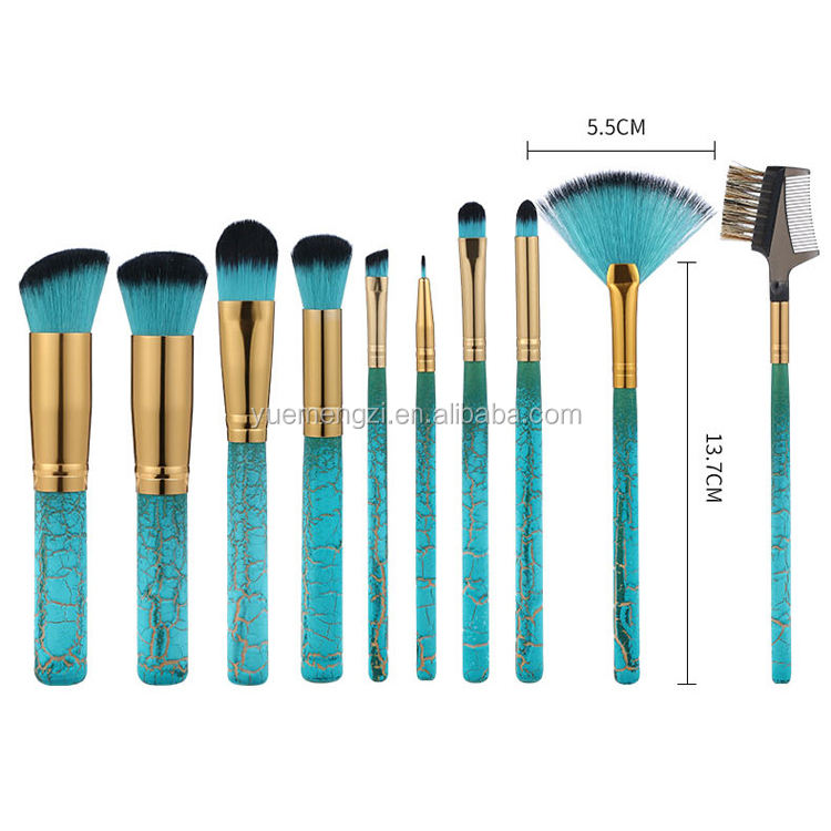 New Low MOQ Cosmetic Brushes Tools Kit Custom Logo 10 pcs Make Up Brush Unique Private Label Makeup Brush Set
