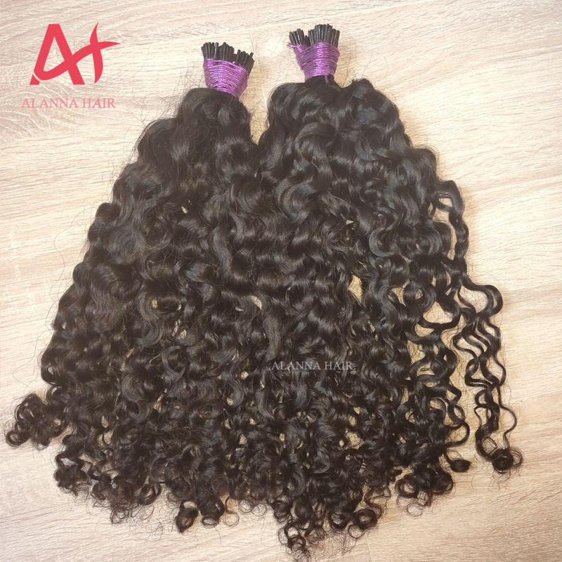 New Arrival 100% Human Hair Extensions I Tip Alanna Hair RaW Virgin Cambodian Curly Hair Raw I Tip Total 125 Sticks One Pack