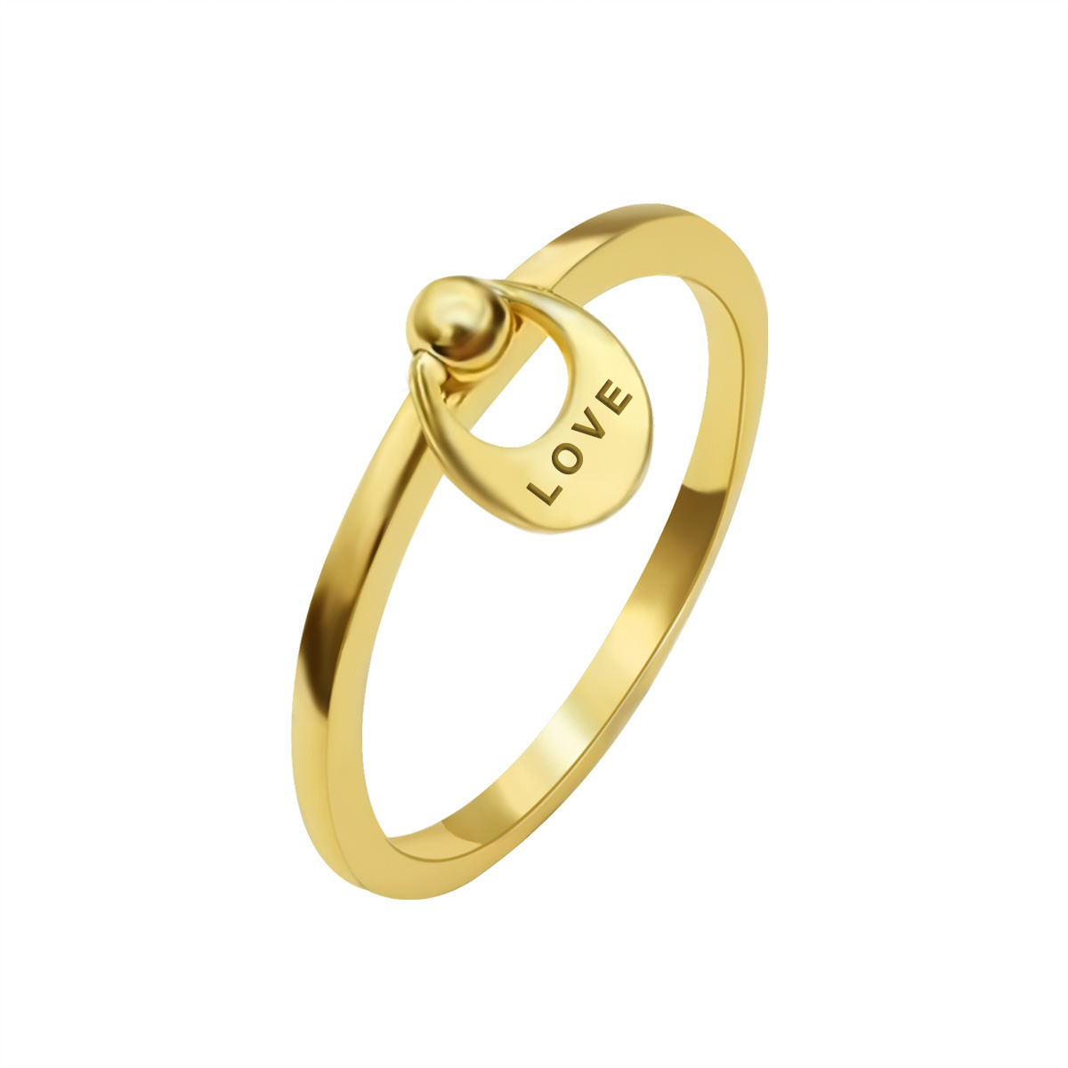 High Quality Wholesale Custom Cheap 18k Plated Gold Hollow-Out Circular With Letter Love 925 Sterling Silver Ring