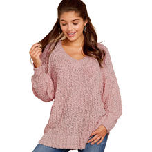 Women V Neck Knitted Long Sleeve Sweater Pullover