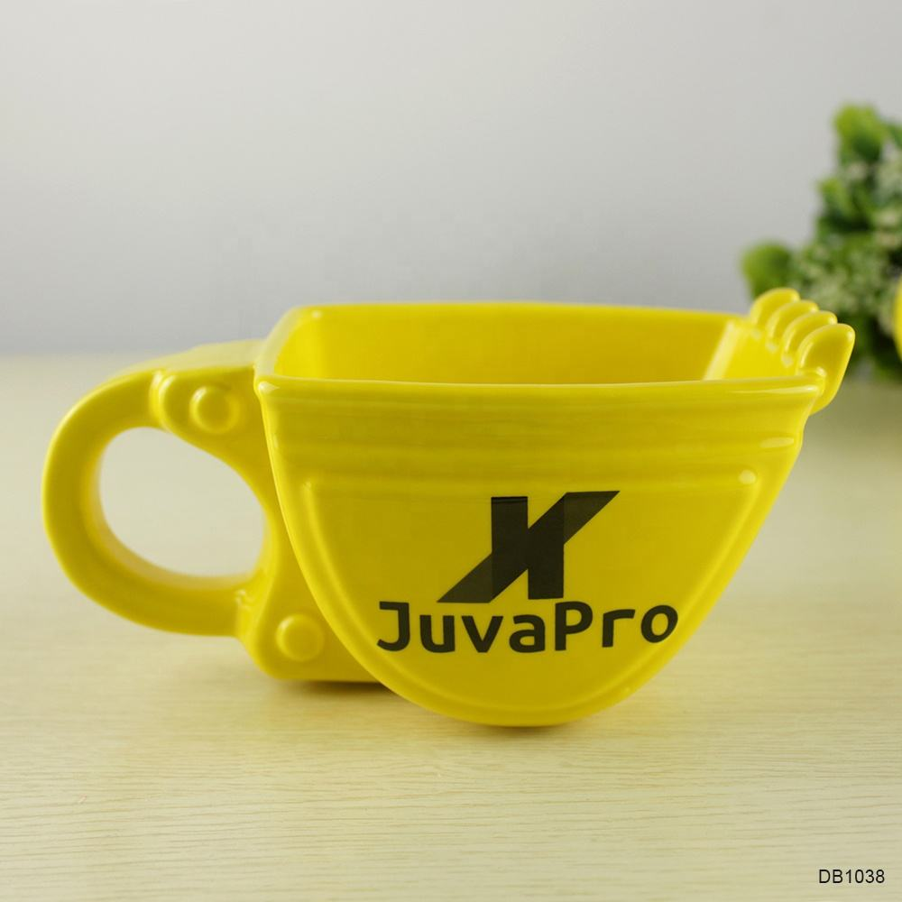 13oz porcelain creative yellow ceramic beer mug coffee excavator bucket mugs ice cream cup