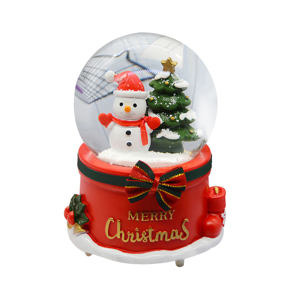 High Quality Snow Globe With Music Snowman Rotatable Snow Globe Christmas Party Decorative Gift For Kids
