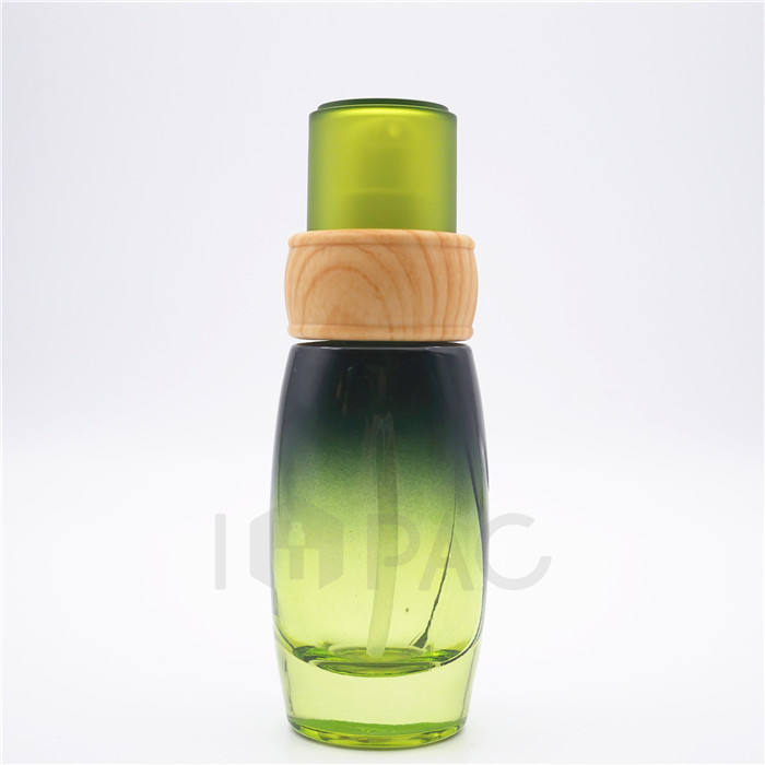 small green essential gel lotion glass spray bottle with pump 40ml