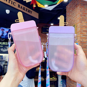 Seaygift new arrival 2021 summer creative ice cream kids children straw bottle outdoor portable plastic water bottle with rope