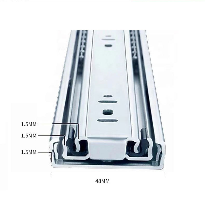 48mm Width 1.5*1.5*1.5mm Shunde Quality Heavy Duty Telescopic Channel Drawer Slide Rail With Rainbow Plating For Table In Foshan