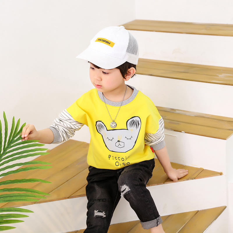 Spring children's clothing cotton long-sleeve boys girls baby t-shirt kid personality cartoon bottoming shirt